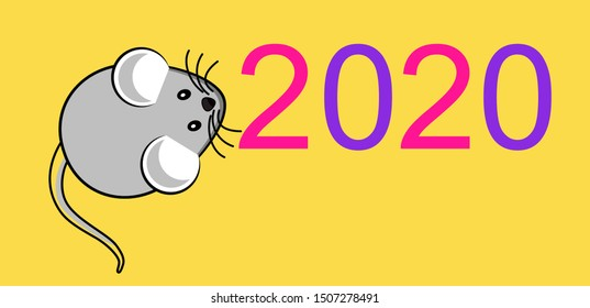 The picture is a Christmas picture, 2020 with a mouse. Vector background.