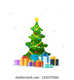 Picture of Christmas tree with gift boxes isolated on white background. Christmas greeting card template. Flat style illustration.