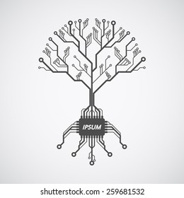 picture of a circuit board pattern in form of a tree with roots formed with chip