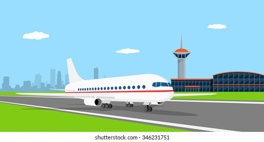 picture of a civilian plane on landing strip, in front of airport, flat style illustration
