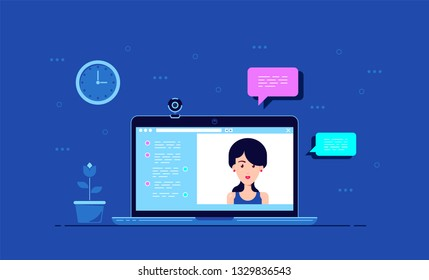 Picture of computer monitor with online conference application interface, web camera and woman portrait, flat style concept banner, video call, online conference, online training
