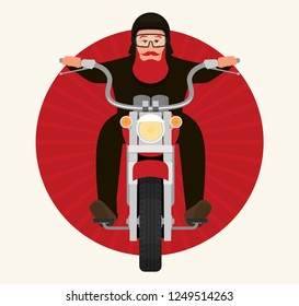 Picture of cool biker character riding a motorbike, character design, front view, flat style illustration