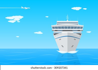picture of cruise liner in the sea, front view, flat style illustration on vacation, travel, holidays concept