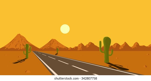 picture of desert road, cacti, mountains and setting sun, flat style illustration