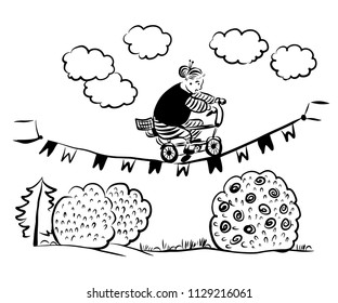 picture drawing cheerful grandmother on a children's bicycle performs an acrobatic stunt, rides a rope with flags over the yard, sketch, hand-drawn digital comic vector illustration