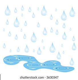 In picture drops of a rain which flow down in pools are represented