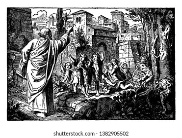 A picture of Elisha, Some rude boys and two bears. Elisha raised his right hand and curses those rude boys. Two bears can be seen attacking of those boys, vintage line drawing or engraving