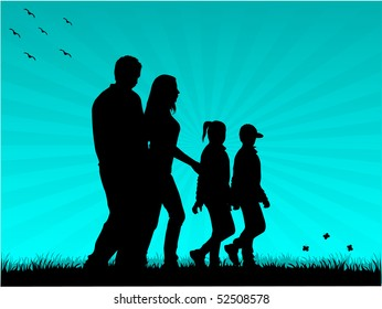 picture of the family for a walk
