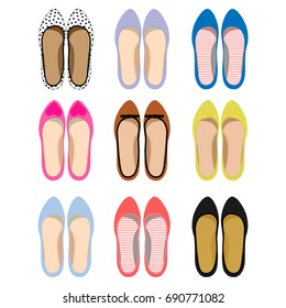 Picture of female shoesSet of summer women's footwear. Textile shoes with print.