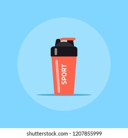 Picture of fitness nutrient shaker icon isolated on white background.
