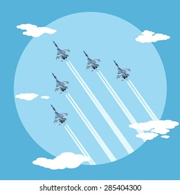 picture of five fighter planes flying combat order, flat style illustration