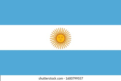 The picture is the flag of Argentina, in the middle of the flag is the sun. State symbols, independence flag, patriotism. Flag for national holidays, other organizations.