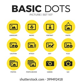 Picture flat icons set with macro, portrait and photo edit isolated vector