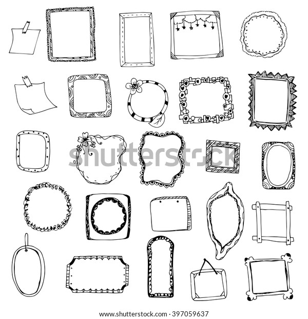 Picture Frame Drawing Designs Vector Set Stock Vector Royalty