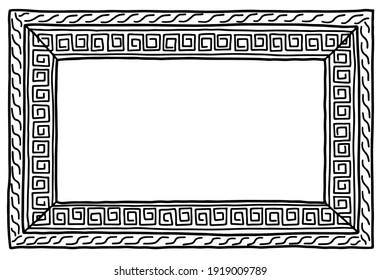 Picture frame hand drawn Greek ornament meander with copy space doodle vector illustration
