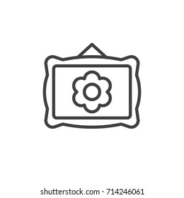 Picture frame line icon, outline vector sign, linear style pictogram isolated on white. Decoration symbol, logo illustration. Editable stroke. Pixel perfect vector graphics