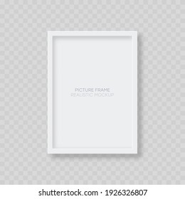 Picture frame mockup. Realistic blank vertical white picture frame template with shadow isolated on transparent background. Vector illustration.