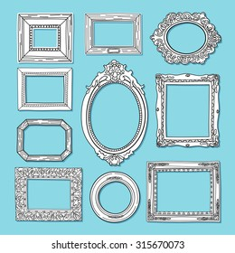 Picture frame vector. Hand drawn vintage art gallery set