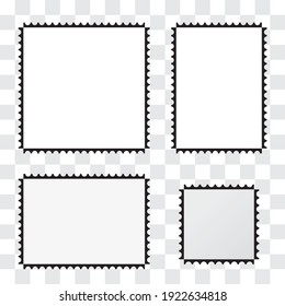 Picture frames with different aspect ratios. Vector illustration of painting frames or postage stamps.
