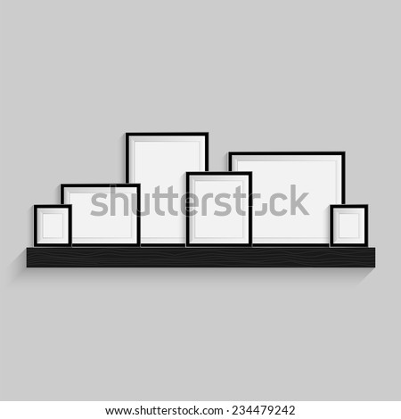 Picture Frames Are On The Black Bookshelf Modern Photo Art Gallery Isolated Gray Background
