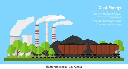 Picture of freight carriages filled with coal with coal hills and coal-fired power plant on background, flat style banner, coal industry, coal energy concept