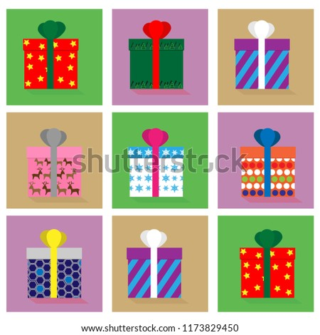 Picture Gift Boxes Beautiful Package Decoration Stock Vector