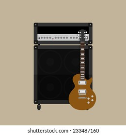 picture of guitar amplifier with speaker and guitar, flat style illustration