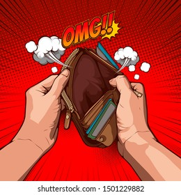 picture hand open an empty wallet on red background, comic cover template, speech bubbles, doodle art, Vector illustration file.