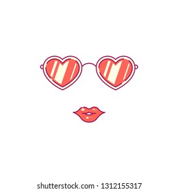 Picture of heart shaped sunglasses with female lips. Flat style line art illustration.