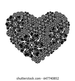 Picture of the heart of stylized flowers in black and white colors. Isolated on white background. Vector illustration.