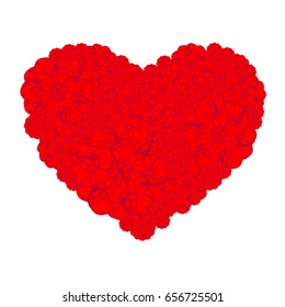Picture of the heart of stylized flowers. Isolated on white background. Vector illustration.