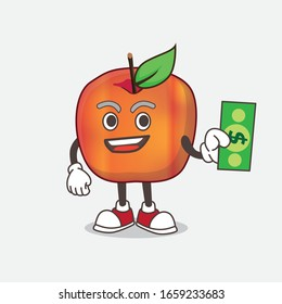 A picture of Honeycrisp Apple cartoon mascot character giving dollar money