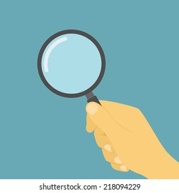 picture of  human hand holding magnifying glass, flat style illustration