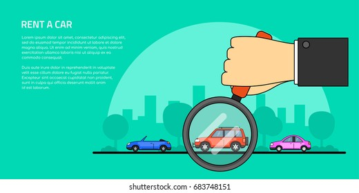 picture of a human hand holding magnifying glass and number of cars, car selection, rent, buy a car concept banner, flat line art style illustration