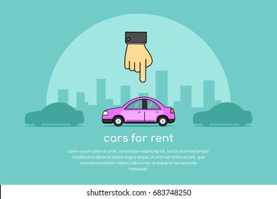 picture of a human hand pointing to a car, car selection, rent a car concept banner, flat line art style illustration
