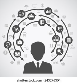 picture of a human silhouette and a diagram of business processes with a lot of icons