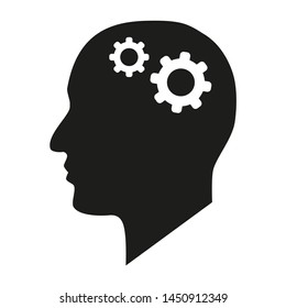 In the picture, the icon of a person who thinks about the situation, makes a decision, dreams, brainstorming. Icon for project, business.
