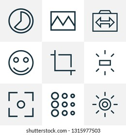 Picture icons line style set with center focus, capture, brightness and other center focus elements. Isolated vector illustration picture icons.