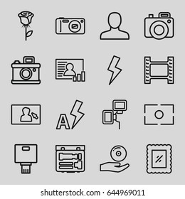 Picture icons set. set of 16 picture outline icons such as man, cd on hand, camera, camera flash, flash, auto flash, photo, rose