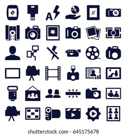 Picture icons set. set of 36 picture filled icons such as camera, man, man and woman, play in gear, cd on hand, photo, camera flash, photo for passport, burst, no flash