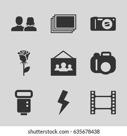 Picture icons set. set of 9 picture filled icons such as photos, man and woman, rose, camera, camera flash, flash, photo