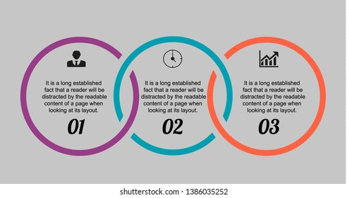 In the picture infographic circles thick contour clamped to three positions, infographic with numbers, icons, and text all black. Infographics for business, project, presentation.