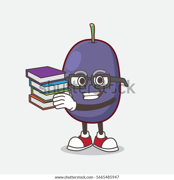 A picture of Java Plum cartoon mascot character studying with some books