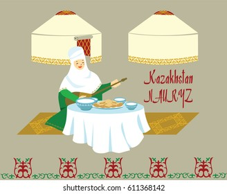 A picture with a Kazakh woman with a dombra in her hands at a set table. Two Kazakh, Kyrgyz, Mongolian yurts. Feast of Nauryz.