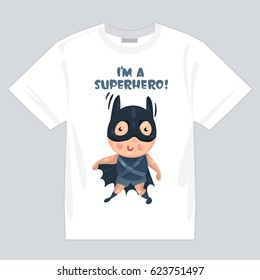 the picture with the kids superheroes for printing on clothing, t-shirt, isolated mock up on white t-shirt