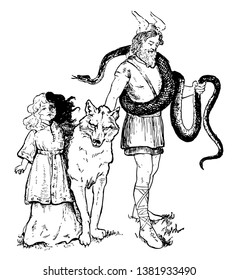 The picture of Loki with his daughter, Hela and his pets. Wolf and snake is shown as pets. The body of Hela is shown two coloured, half white and half black, vintage line drawing or engraving