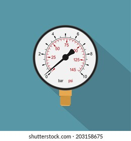 picture of a manometer, flat style icon