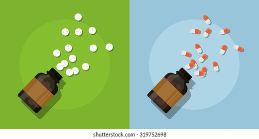 picture of medicine pills and bottles, flat style illustration