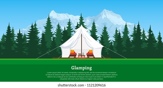 picture of modern comfortable tent with forest and mountains on background, flat style concept banner, vacation and travel concept