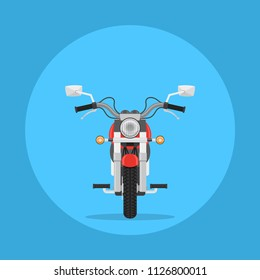 Picture of a motorbike, front view, icon design, flat style illustration
